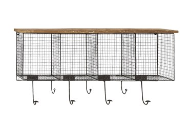 Wood And Metal Wire Cubby Wall Shelf With Hooks