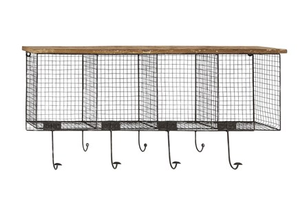 Wood And Metal Wire Cubby Wall Shelf With Hooks - Main