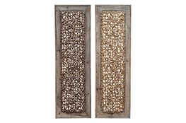 Wood Framed Seagrass Wall Panel-Set Of 2