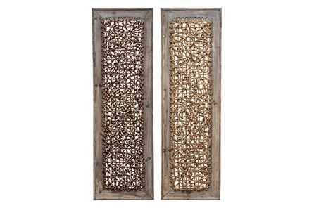 Wood Framed Seagrass Wall Panel-Set Of 2 - Main