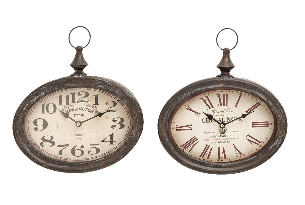 Cream Oval Wall Clock-Set Of 2