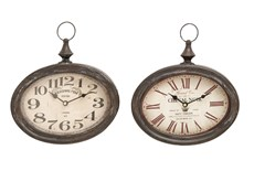 Cream Oval Wall Clock-Set Of 2