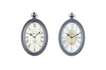 Vintage Black Oval Metal Wall Clock-Set Of 2