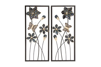 Framed Black And Gold Metal Flower Wall Decor-Set Of 2