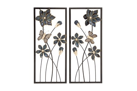 Framed Black And Gold Metal Flower Wall Decor-Set Of 2 - Main