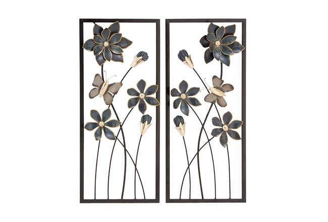 Framed Black And Gold Metal Flower Wall Decor-Set Of 2 - 360