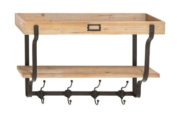 Wood Wall Shelf With Metal Hooks
