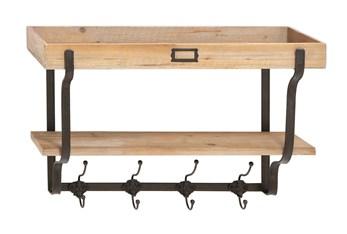 Wood Wall Shelf With Metal Hooks