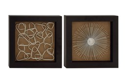 Brown Abstract Metal Wood Framed Wall Decor-Set Of 2