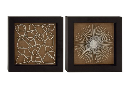 Brown Abstract Metal Wood Framed Wall Decor-Set Of 2 - Main