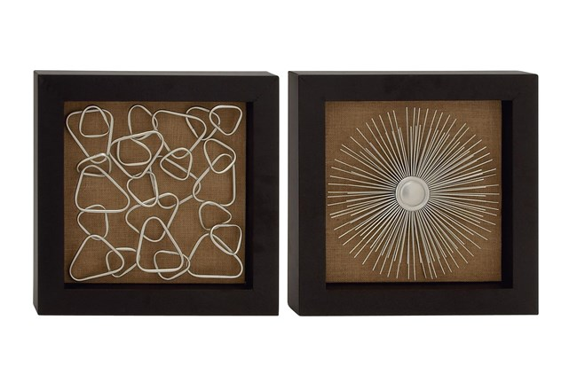 Brown Abstract Metal Wood Framed Wall Decor-Set Of 2 - 360