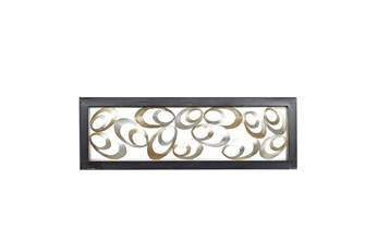 Gold Metal Eliptical Wood Framed Wall Panel