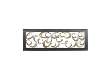 Gold Metal Eliptical Wood Framed Wall Panel