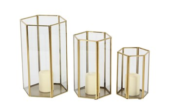 Gold Metal And Glass Hexagon Lanterns-Set Of 3