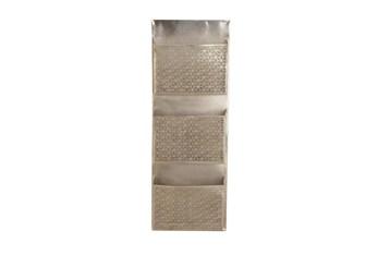 Grey Perforated Metal 3 Pocket Holder Wall Rack