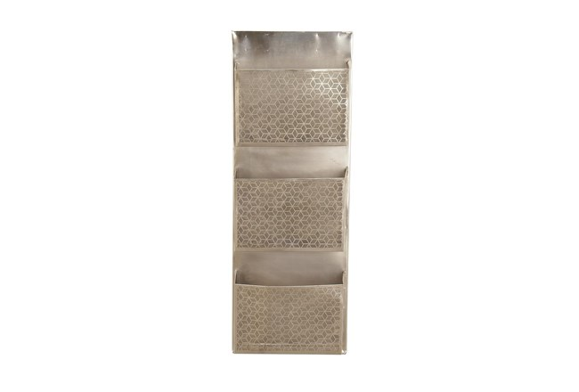 Grey Perforated Metal 3 Pocket Holder Wall Rack - 360