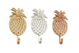 Metal Pineapple Wall Hooks-Set Of 3