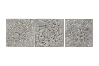 Grey Metal Textured Floral Wall Decor-Set Of 3