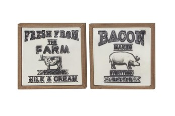 Wood Framed Black Metal Farm Plaque Wall Decor-Set Of 2