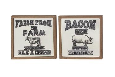 Wood Framed Black Metal Farm Plaque Wall Decor-Set Of 2