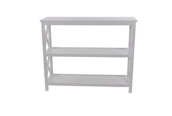 31 Inch White X-Sided Wood Bookcase