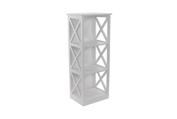 40 Inch White X-Sided Wood Bookcase