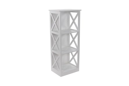 40 Inch White X-Sided Wood Bookcase - Main