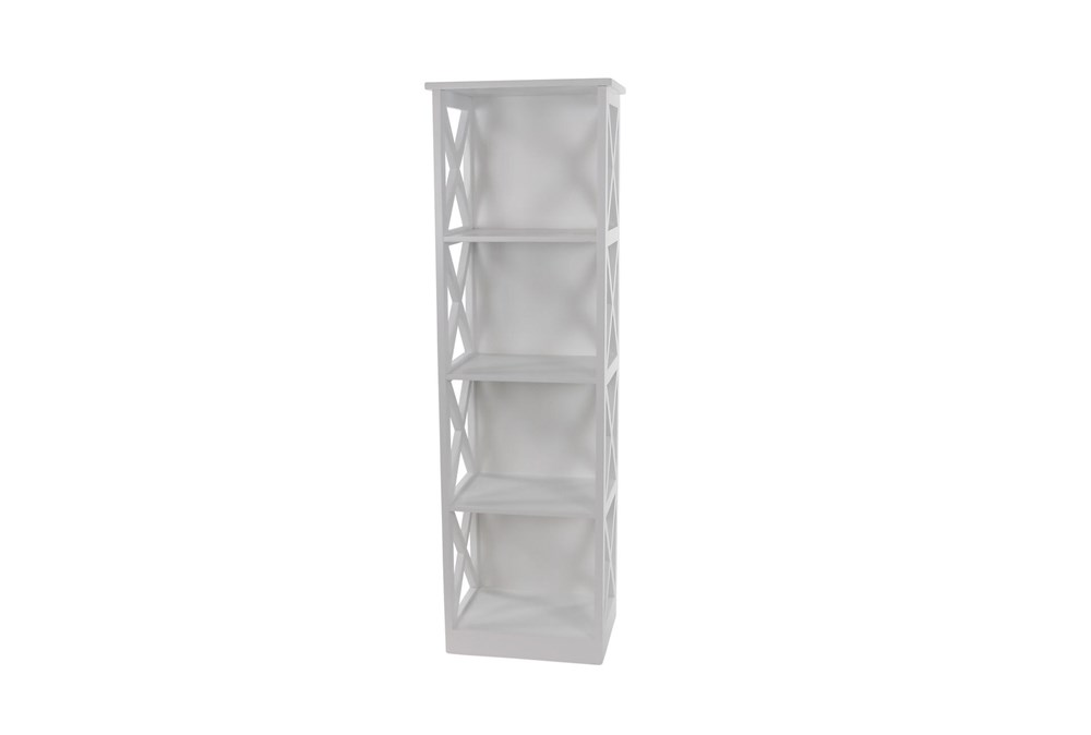 51 Inch White X-Sided Wood Bookcase