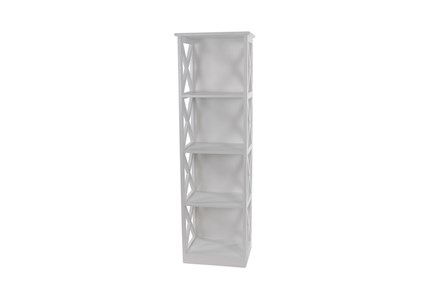 51 Inch White X-Sided Wood Bookcase - Main