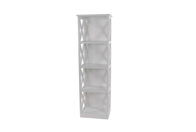 51 Inch White X-Sided Wood Bookcase - 360