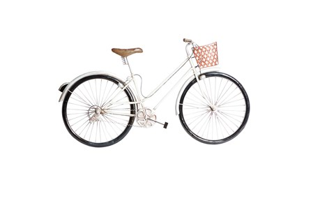 Vintage White Metal Bicycle With Basket Wall Decor - Main