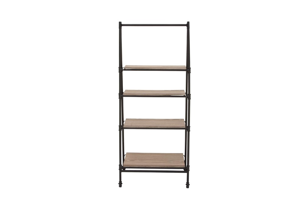 4-Tier Wood And Metal Ladder Bookcase