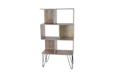 Wood Cubby Bookcase With Hairpin Legs