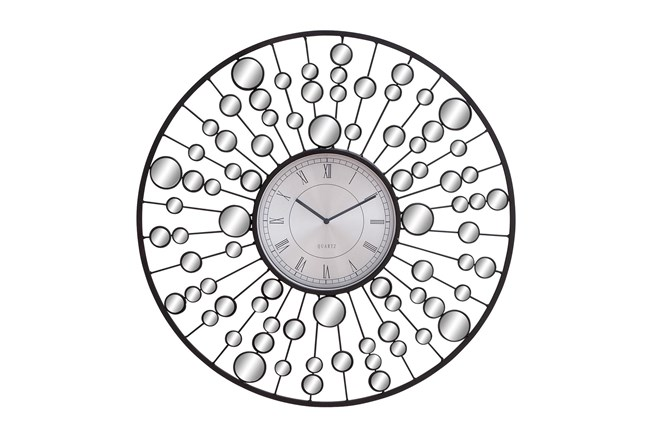 Round Mirror And Metal Wall Clock - 360