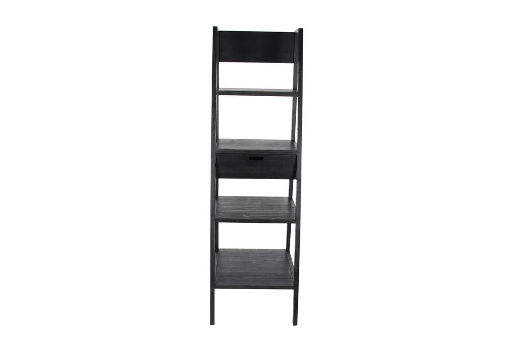 4-Tier Black Wood Ladder Bookcase With Drawer