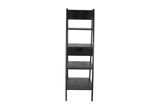 4-Tier Black Wood Ladder Bookcase With Drawer  - 360