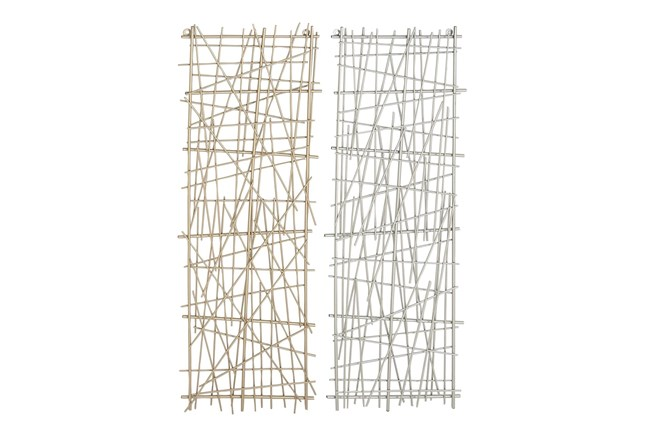 Gold And Silver Crosshatched Abstract Metal Wall Panel-Set Of 2  - 360