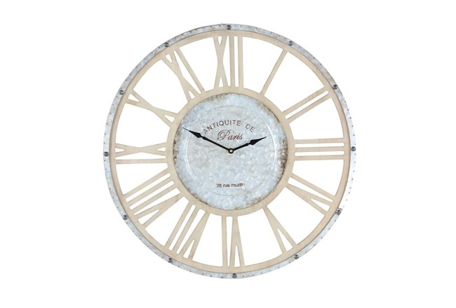 24 Inch Round Wood And Galvanized Metal Wall Clock - 360