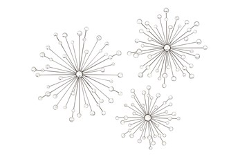Silver Starburst With Crystals 3D Wall Decor-Set Of 3