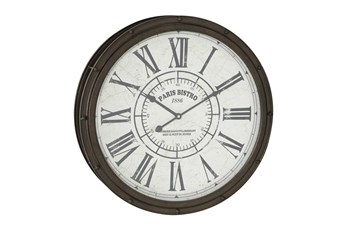 20 Inch Dark Brown Round Metal Wall Clock