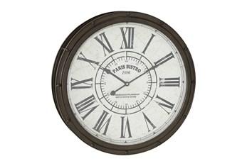 20 Inch Dark Brown Round Metal Wall Clock