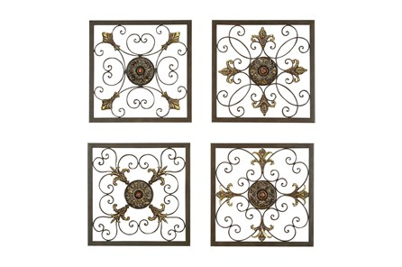 Framed Metal Scroll Work Wall Plaques-Set Of 4 - Main