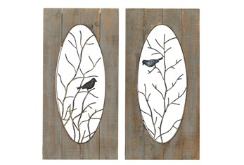 Brown Wood And Metal Branch With Bird Wall Panel-Set Of 2