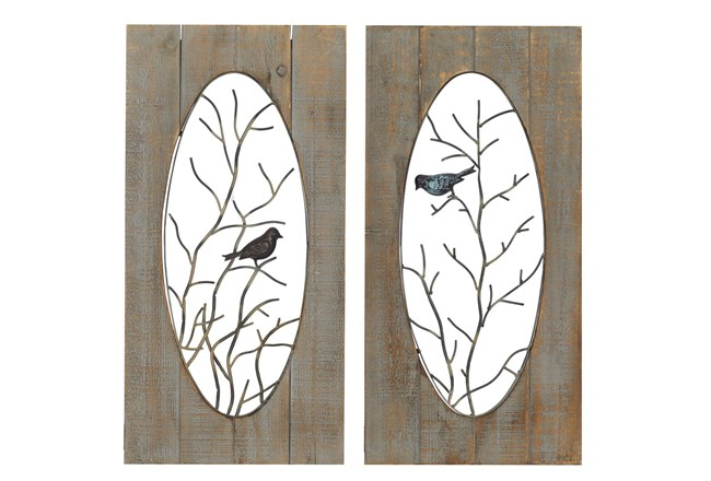 Brown Wood And Metal Branch With Bird Wall Panel-Set Of 2 - 360