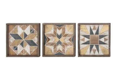 Framed Brown Wood Quilt Patterned Wall Decor-Set Of 3