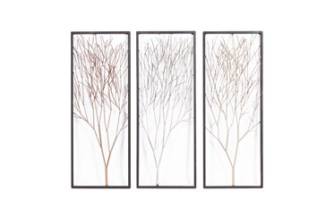 Silver,Gold And Bronze Metal Tree Wall Panel-Set Of 3
