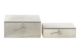 Rectangular Grey Hide Boxes-Set Of 2