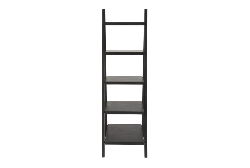 5-Tier Black Wood Ladder Bookcase