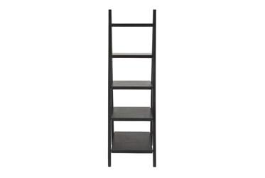 5-Tier Black Wood Ladder Bookcase