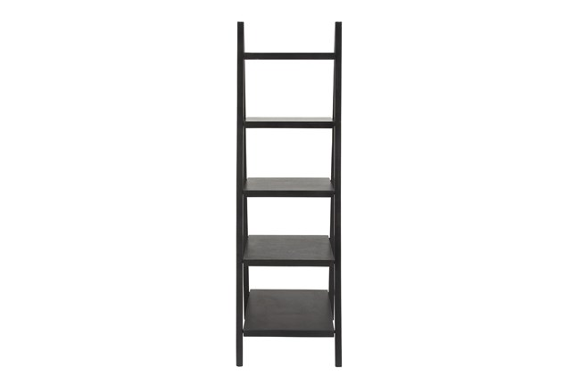 5-Tier Black Wood Ladder Bookcase  - 360